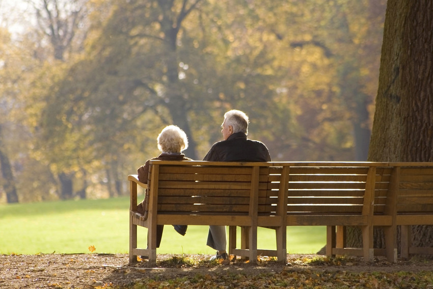 montvale active adults sitting on a park bench